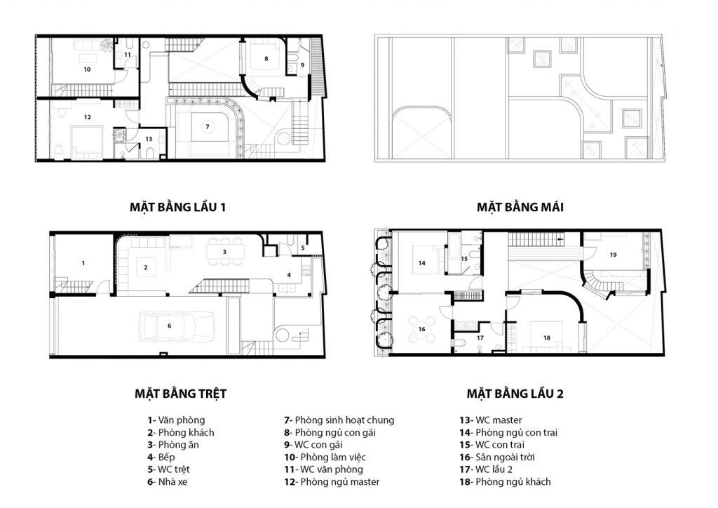 Hình ảnh mặt cắt của ngôi nhà ở các tầng.